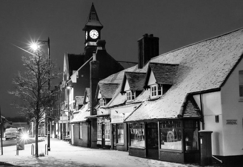 "Fordingbridge Town Hall, February 2018. 16"" x 12"" incl. mount."