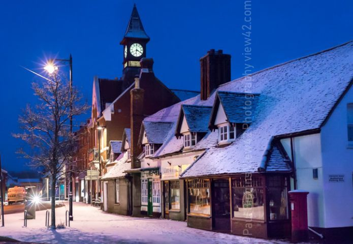 Fordingbridge Town Hall high street snow print