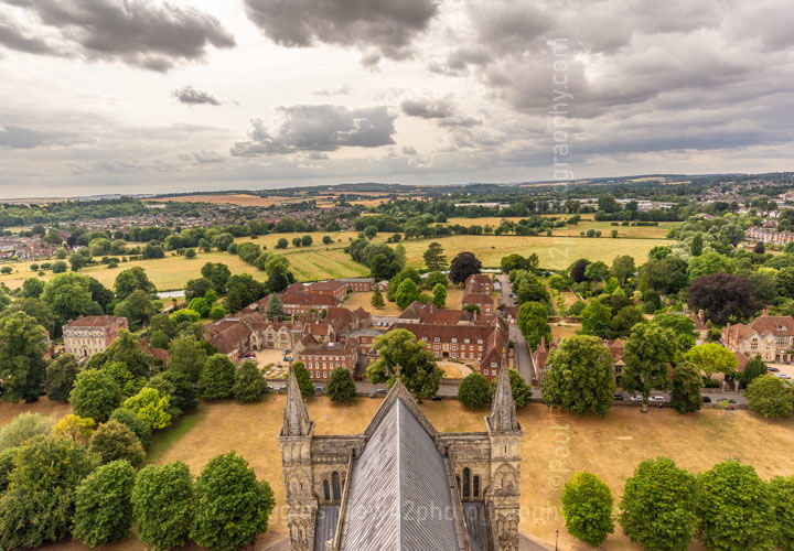 """From Salisbury Cathedral Tower, 16"""" x 12"""" incl. mount, £18."""