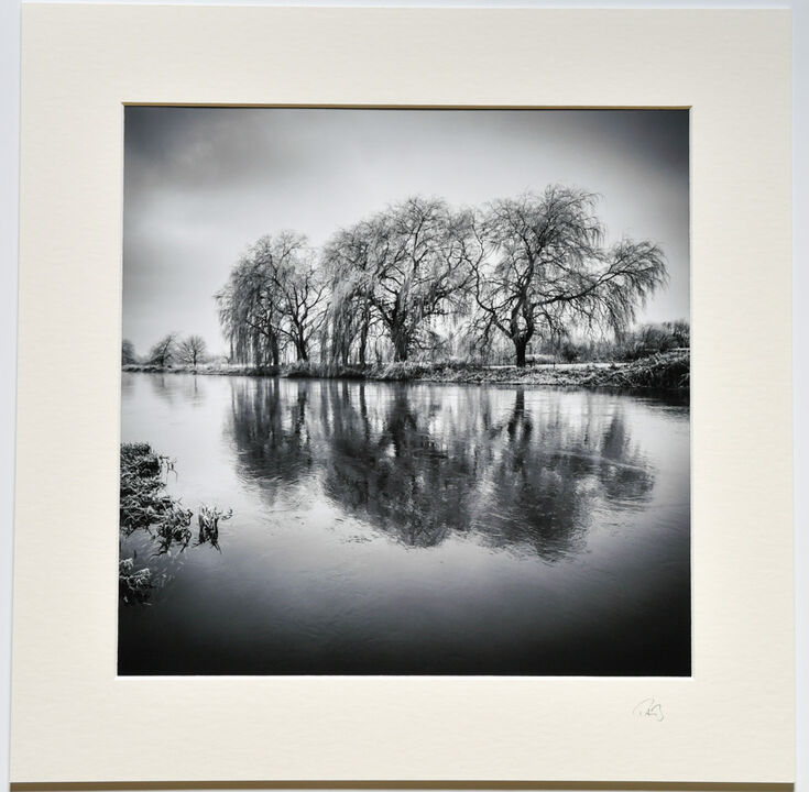 Downstream, River Avon, Fordingbridge, 30cmx30cm b&w print on 40cmx40cm mount. £24