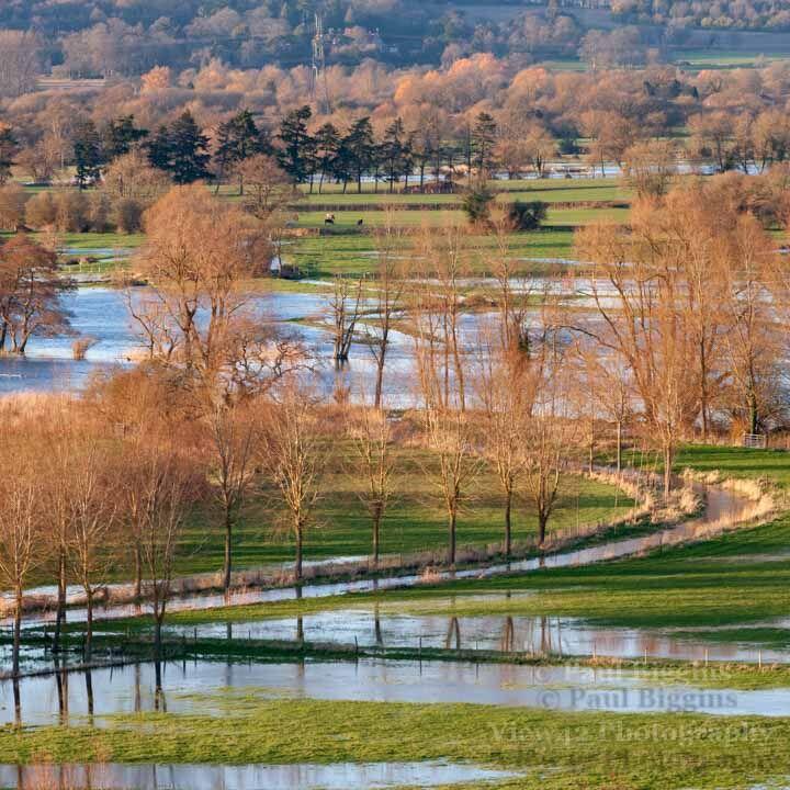 Avon Valley Flood, 30cm x 30cm with 40cm x 40cm mount