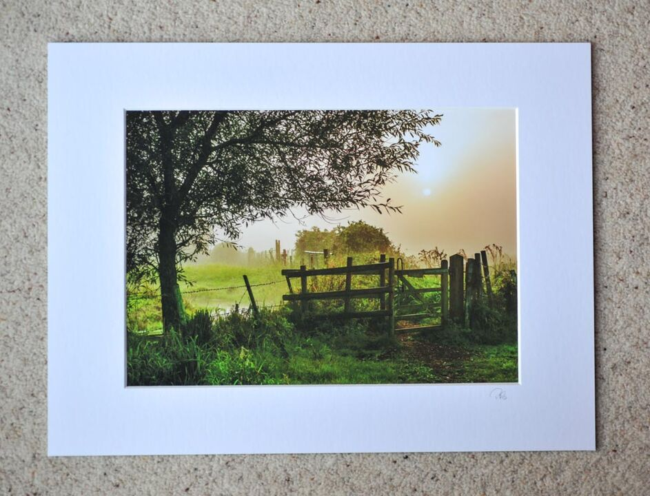 "Mist Morning Footpath, Avon Valley, A4 print with 16"" x 12"" mount. £20"