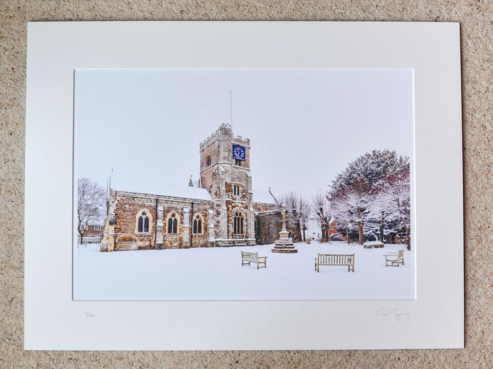 """St Mary's, Fordingbridge, A3+ with 24"""" x 18"""" mount, fine art paper Limited Edition. £40"""