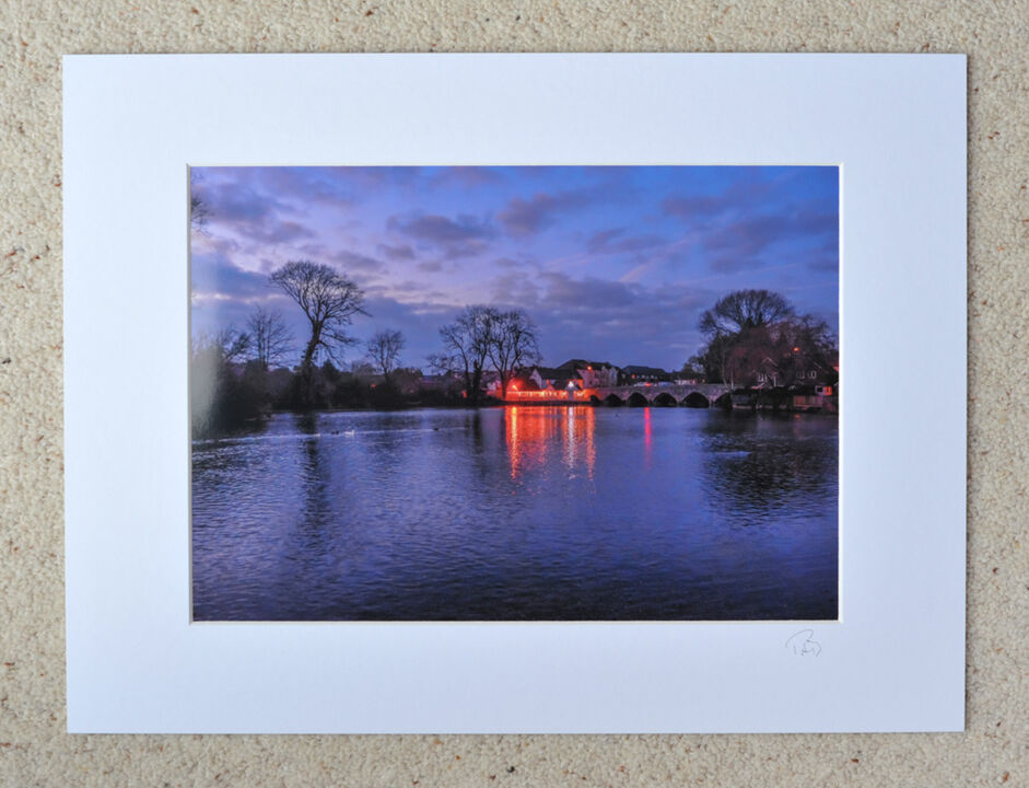 "Fordingbridge by Night, A4 print with 16"" x 12"" mount. £20"