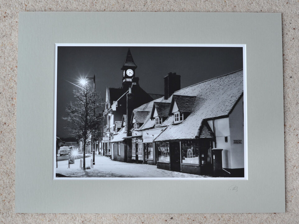 """Fordingbridge Town Hall and High Street, A4 print with 16"""" x 12"""" mount. £20"""