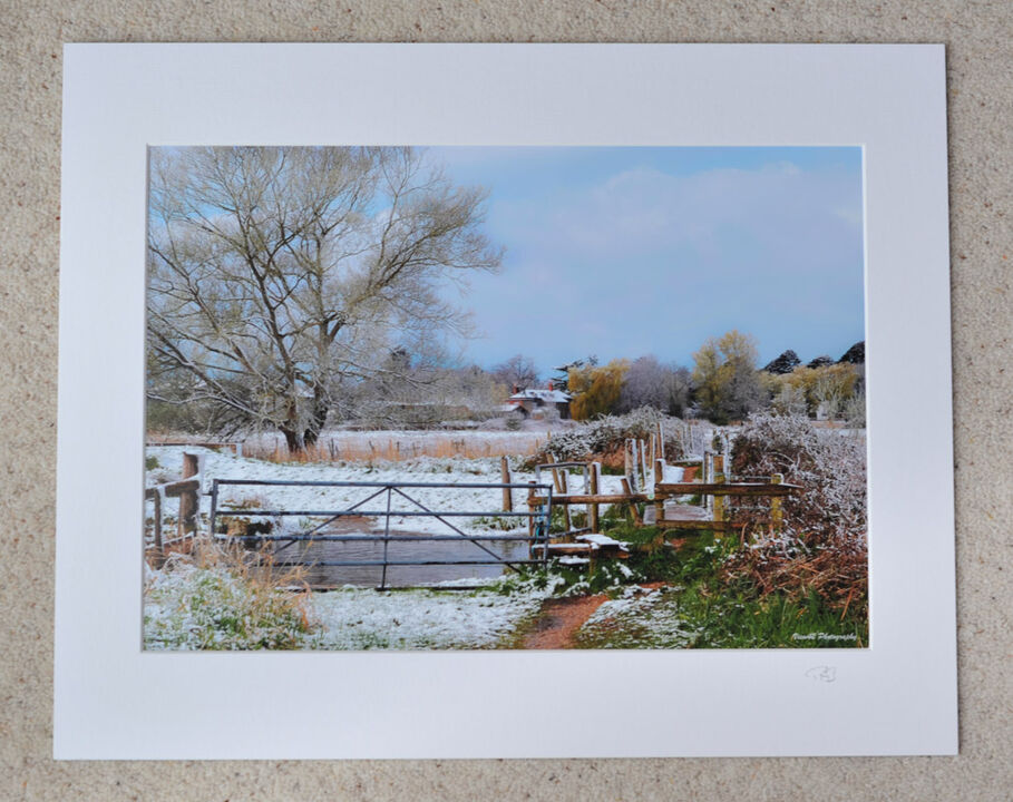"""Late Winter Snowfall at Burgate Manor Farm, A3 print with 20"""" x 16"""" mount. £28"""