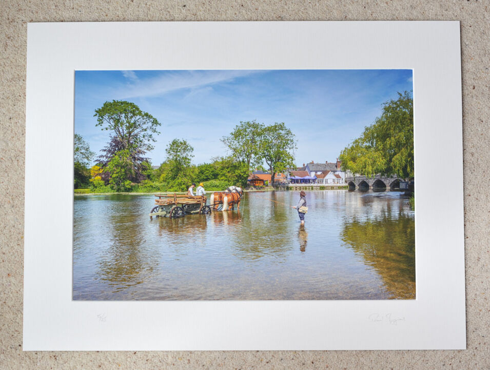 """Fisherman at The Hay Wain, A3+ print with 24"""" x 18"""" mount, fine art paper. Limited Edition. £40"""