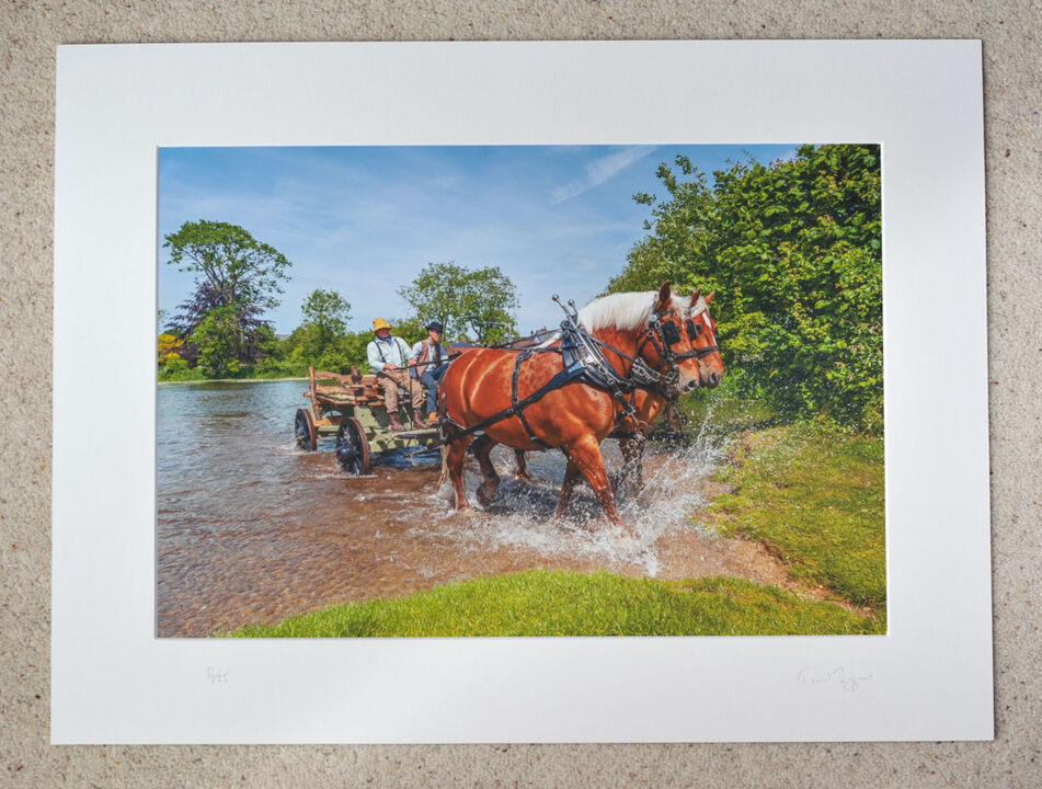 """Splashing Out at The Hay Wain, A3+ print with 24"""" x 18"""" mount, fine art paper. Limited Edition. Special Offer £35"""