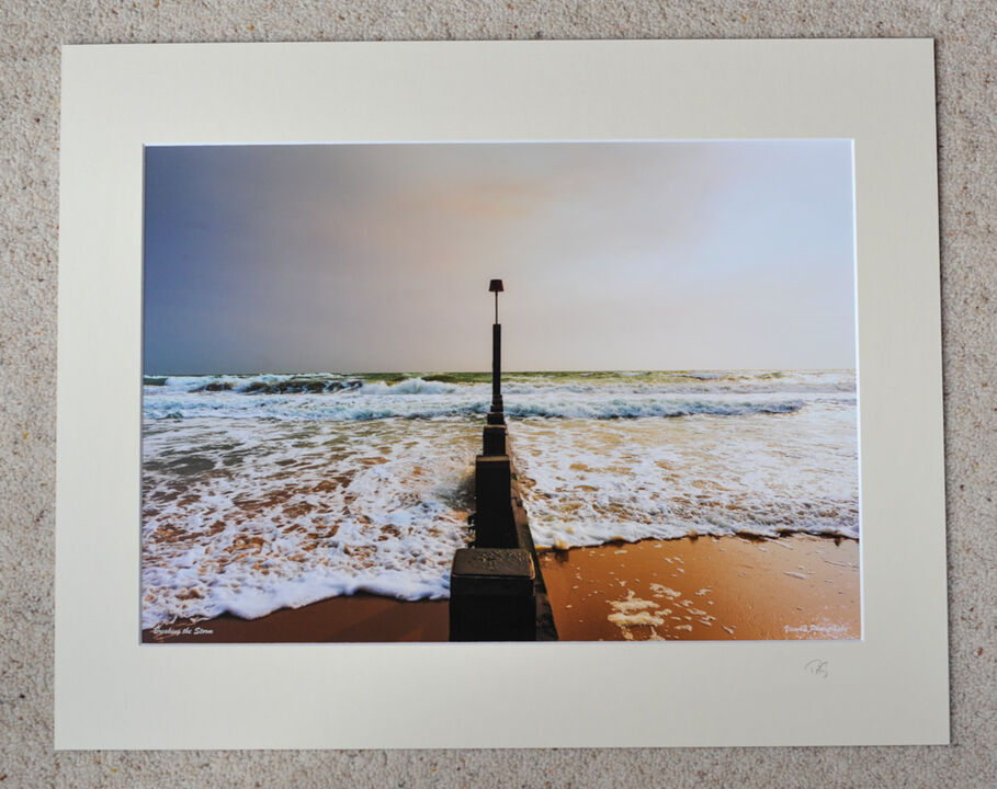 "Splitting the Waves, Boscombe Beach, A3 print with 20"" x 16"" mount. £28"