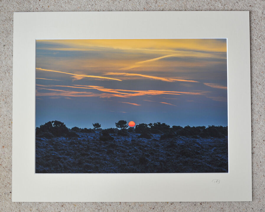 """New Forest winter sunrise, Coopers Hill, A3 print with 20"""" x 16"""" mount. £28"""