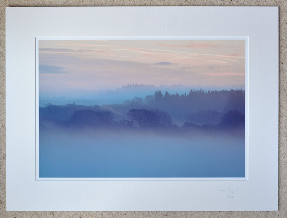 """Misty Morning, Ashley Walk, New Forest, A3+ print with 24"""" x 18"""" mount, fine art paper, Limited Edition. £45"""