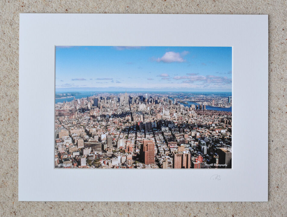 """Manhattan from the top of WTC, 1998. 16"""" x 12"""" incl. mount: £20"""