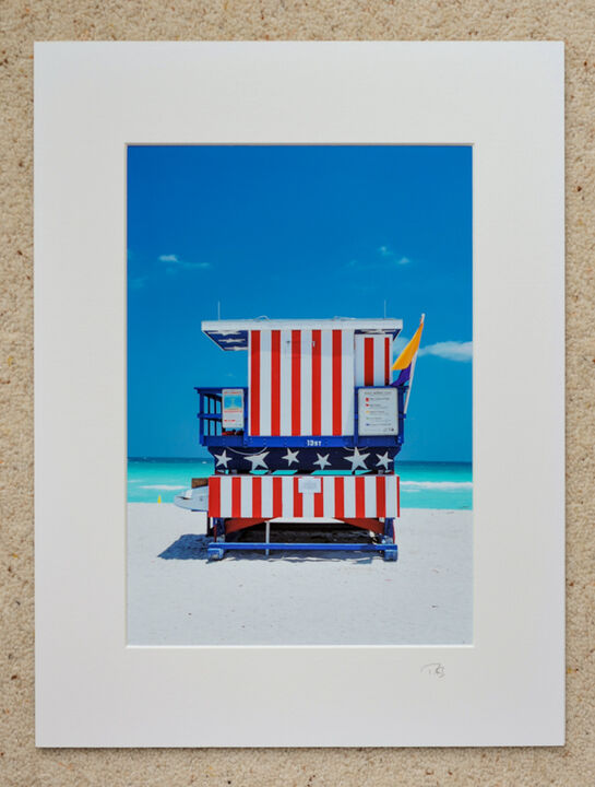 "Stars and Stripes, South Beach, Miami, A4 print with 16"" x 12"" mount. £20"