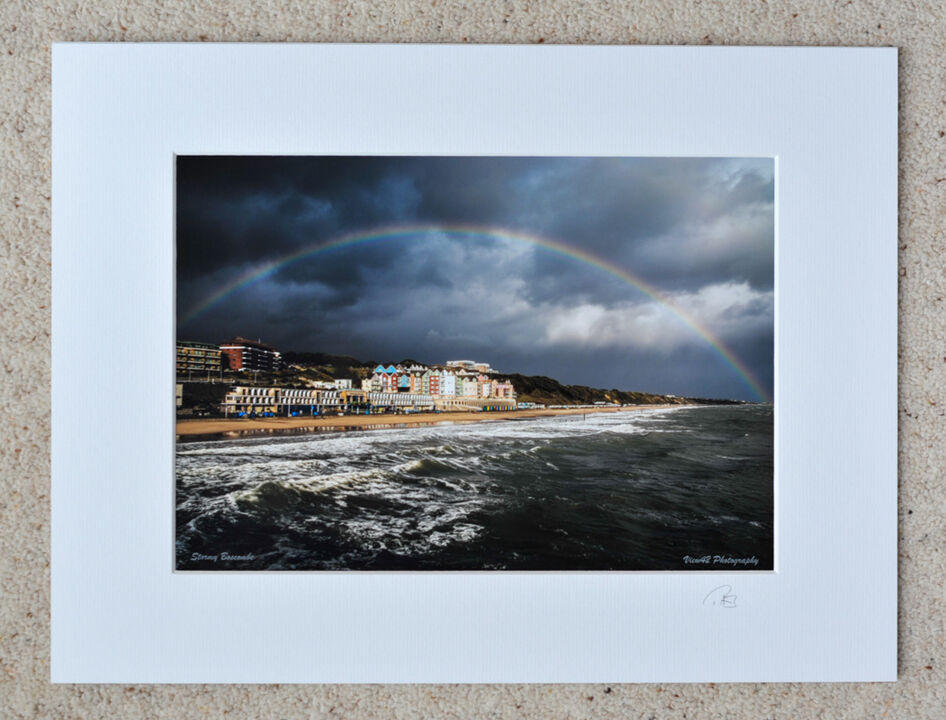 """Rainbow over Boscombe, A4 print with 16"""" x 12"""" mount. £15"""