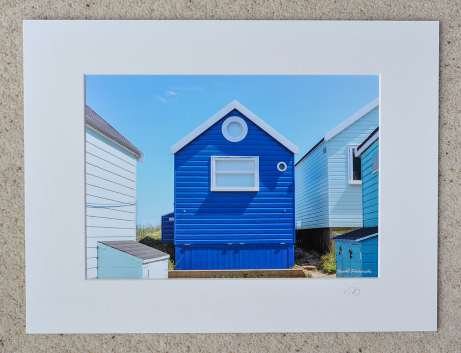 """Beach Huts in Blue, A4 print with 16"""" x 12"""" mount. £20"""