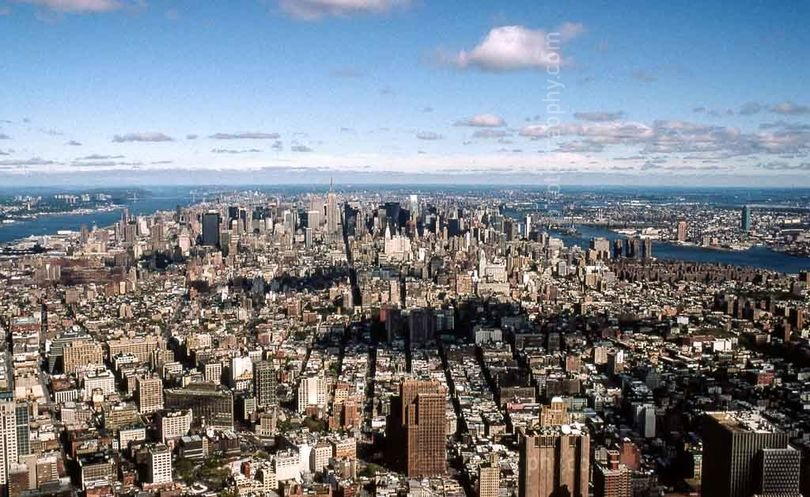 "Manhattan 1998 from the top of WTC. 16"" x 12"" incl. mount: £20"