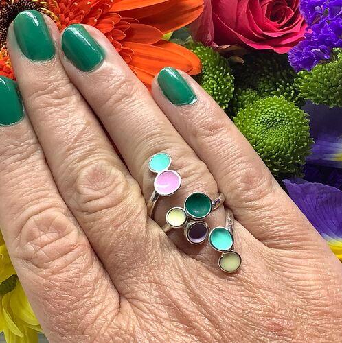 Sterling silver & pastel coloured enamel adjustable ring