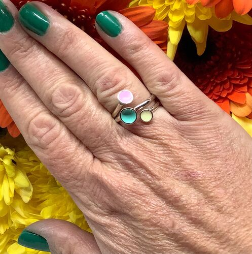 Sterling silver & pastel enamel adjustable ring
