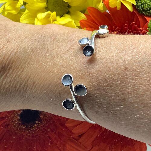 Sterling silver black and white enamel adjustable bangle