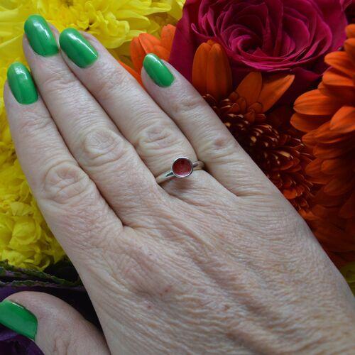 Sterling red enamel ring