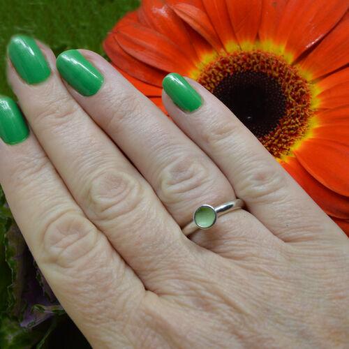 Sterling silver pale green enamel ring