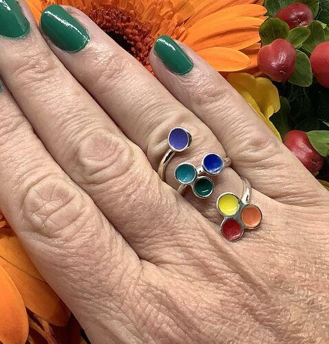 Sterling silver rainbow enamel adjustable ring