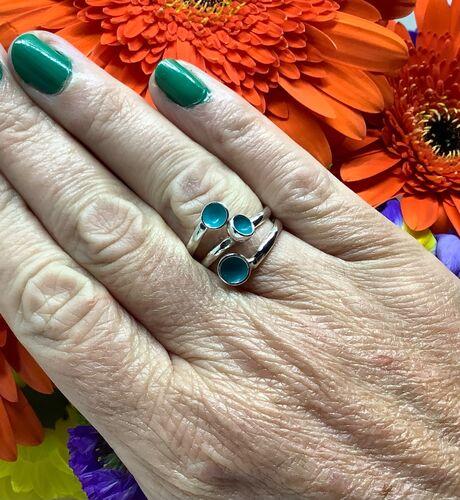 Sterling silver turquoise enamel adjustable ring