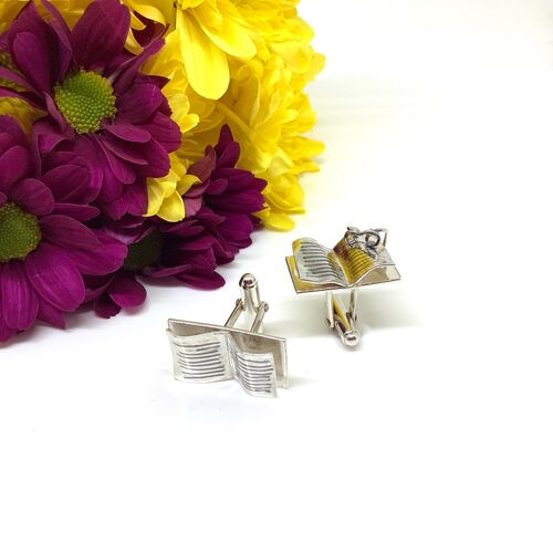 Sterling silver book and glasses cufflinks