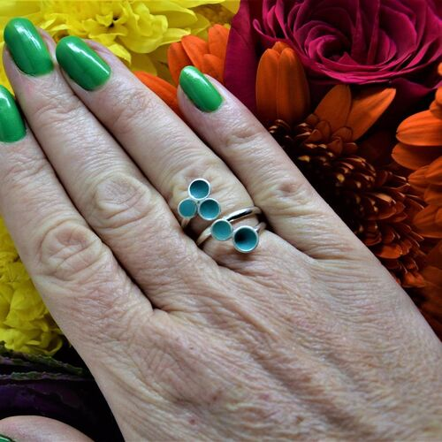 Sterling silver and turquoise adjustable wrap ring