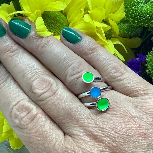 Sterling silver fluorescent green and blue adjustable ring