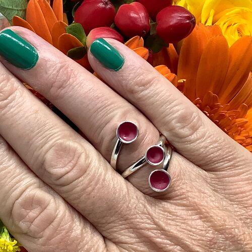 Sterling silver hot pink enamel adjustable ring