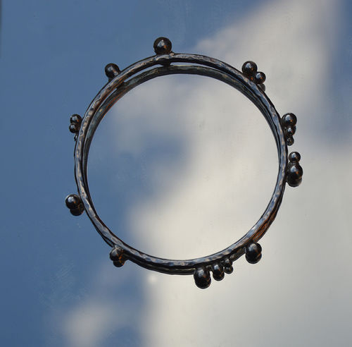 Silver silver bangle with balls!