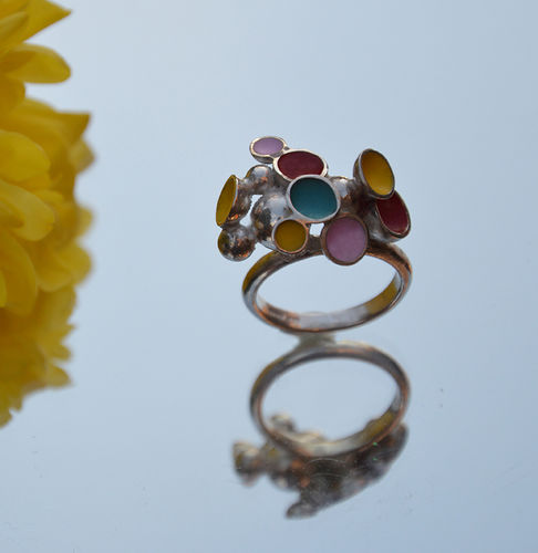 Sterling silver red, yellow, turquoise & pink enamel ring