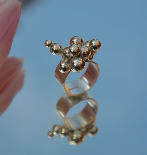 Sterling silver ring with lots of balls!