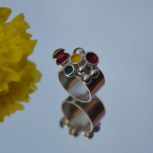 Sterling silver ring filled with red, yellow & turquoise enamel