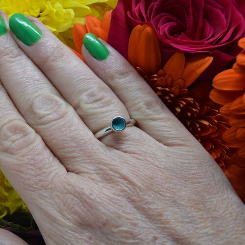Sterling silver & turquoise enamel ring.