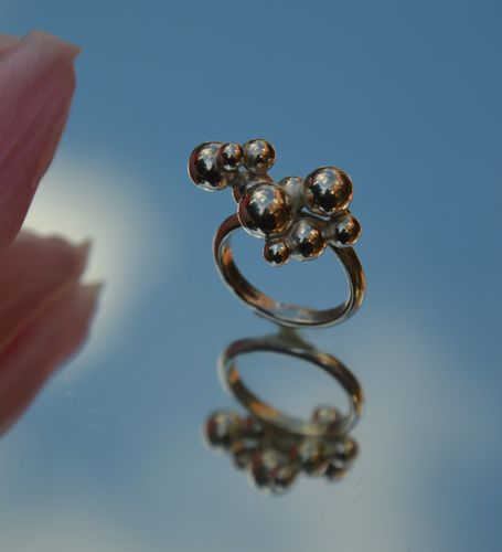 Sterling silver bubbly ball sterling silver ring