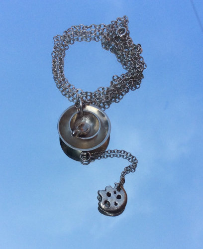 Sterling silver cup of tea & biscuit