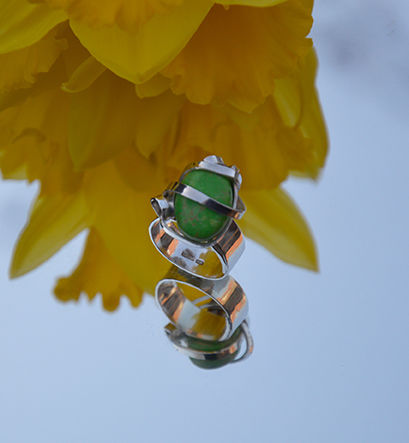 Sterling silver wrap ring with simulated green turquoise ring