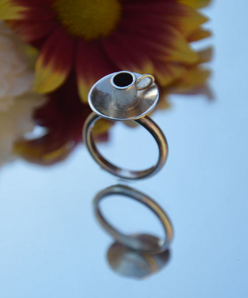 Sterling silver espresso coffee cup ring
