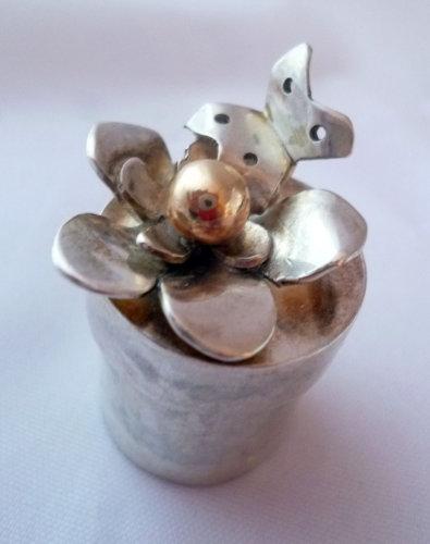 Sterling silver & 9 carat gold flower christening box