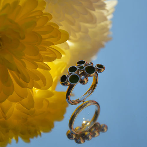 Sterling silver & green enamel ring
