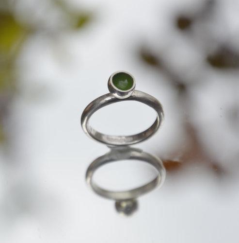 Sterling silver & summery green enamel ring