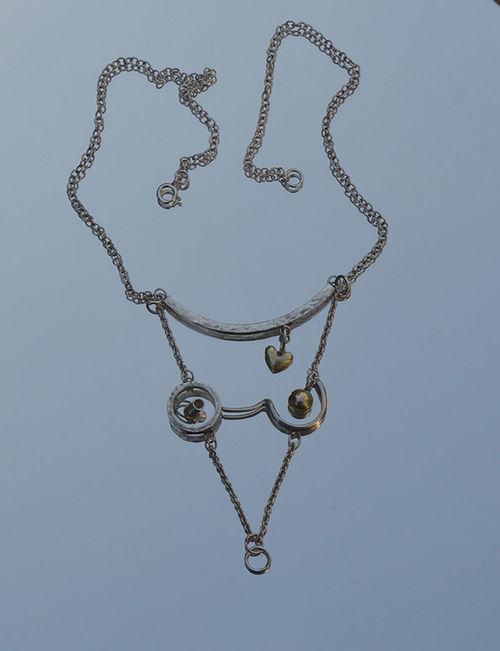 Sterling silver & gold lady pendant