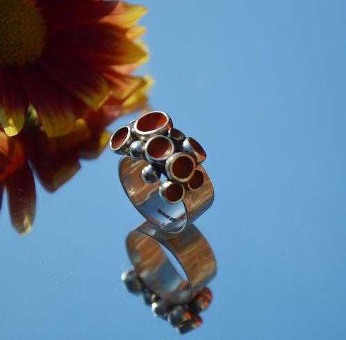 Sterling silver orange enamel ring.