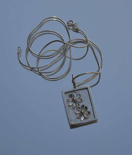 Sterling silver and gold picture pendant