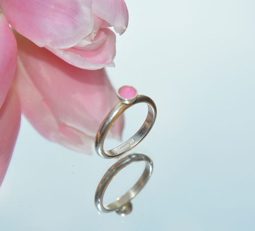 Sterling silver & frosty pink enamel ring