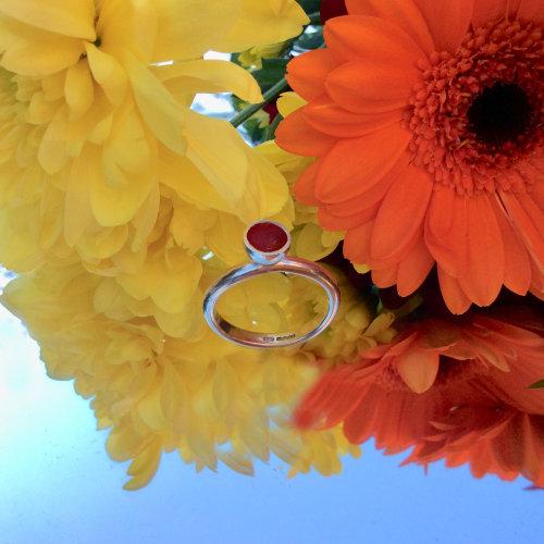 Sterling silver & fiery red enamel ring