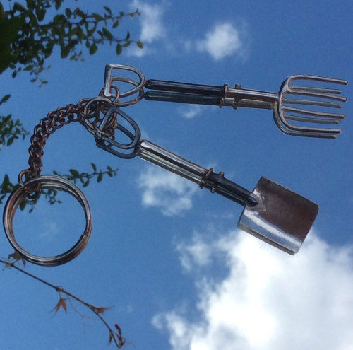 Sterling silver spade and fork key ring