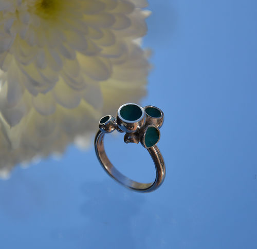 Sterling silver turquoise enamel ring
